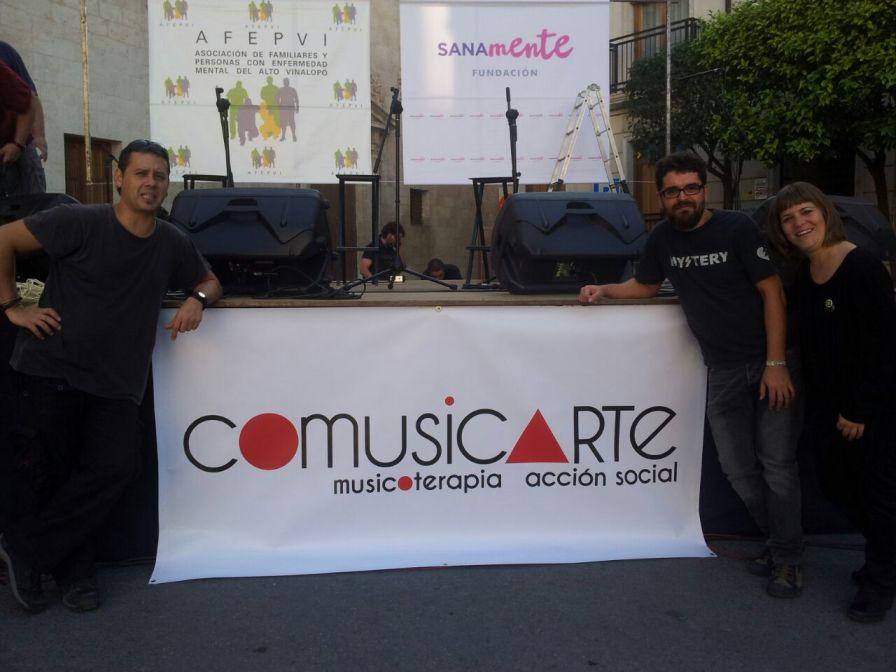 Chechu Obrer, Óscar Albuixech y Ruth Durá, Musicoterapeutas en Comusicarte.